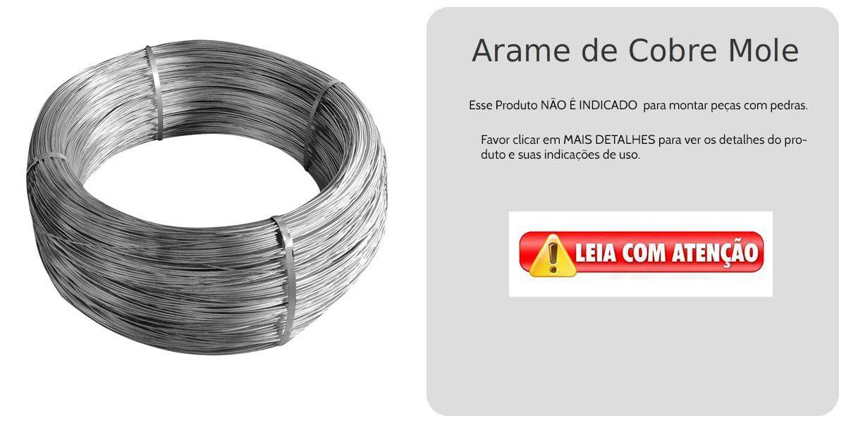 Arame de Cobre Copper Espessura 0.40mm Banho de Cobalto Branco - Metro - AR_131  - ArtStones