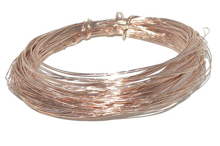 Arame de Cobre Copper Espessura 0.70mm Folheado a Ouro Rose - Metro - AR_128  - ArtStones