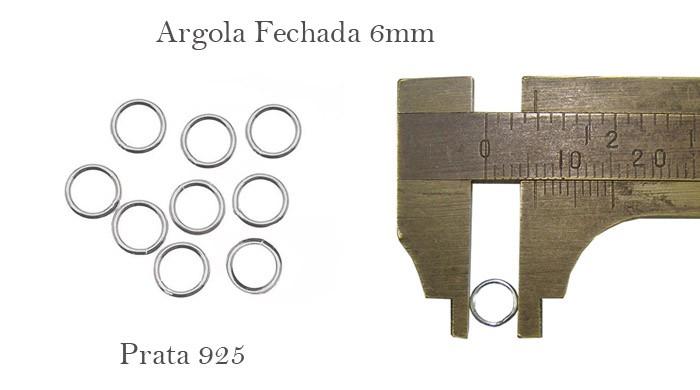 Argola em Prata 950 Fechada 6x1mm - 6 Peças - PR037  - ArtStones