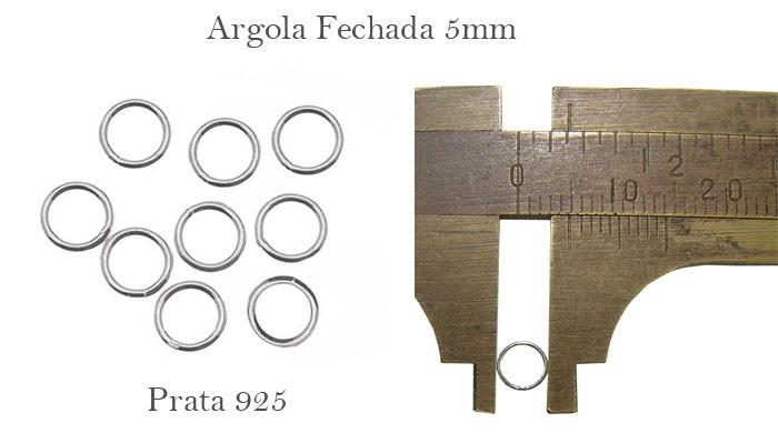 Argola em Prata 950 Fechada 5x0.50 - 10 Peças - PR090  - ArtStones