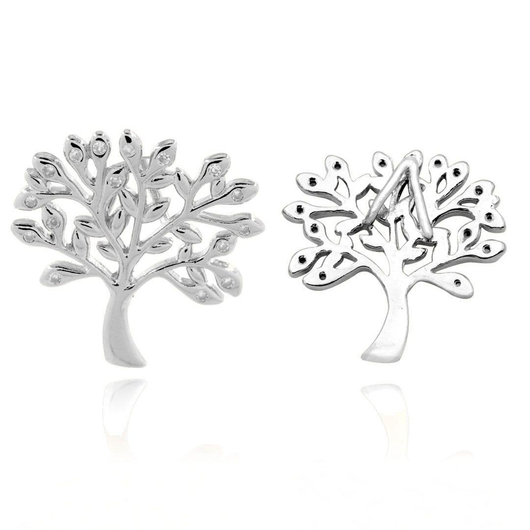 Árvore da Vida 23mm com Zircônias Folheado a Prata- 1 Peça - PEFO_164  - ArtStones