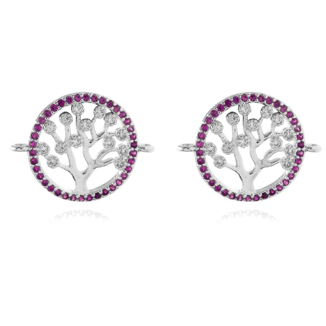 Entremeio Árvore da Vida Zircônia 15mm Folheado a Prata - 1 Peça - EF_102  - ArtStones