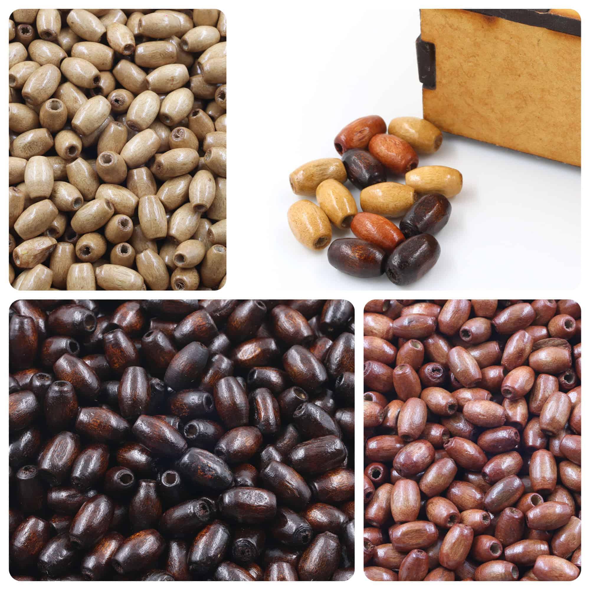 Barril de Madeira Natural 10x7mm Cores Variadas - Pacote - CM036  - ArtStones