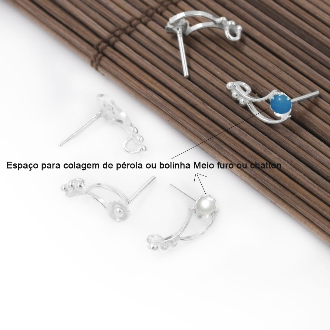 Base de Brinco artesanal em Prata 925 - PAR - PR108  - ArtStones