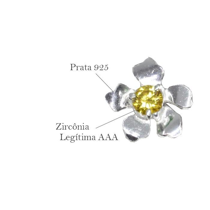 Base de Brinco Flor em Prata 925 com Zircônia Citrino - Par - PR049  - ArtStones