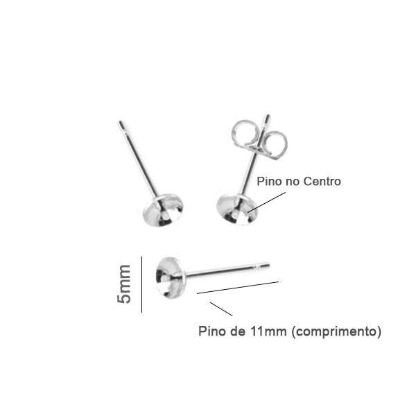 Base de Brinco Folheada Top 5mm - 05 Pares - FO175  - ArtStones