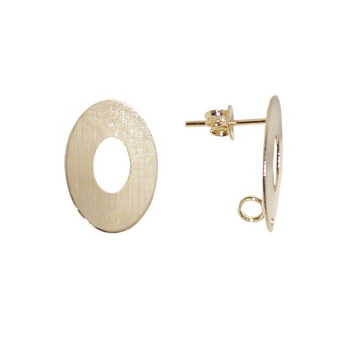 Base de Brinco Oval Jateada 15x10mm Folheado a Ouro - 02 pares - BA_91FO  - ArtStones