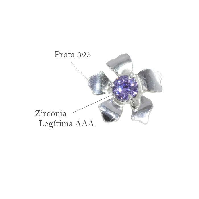 Base de Brinco Flor em Prata 925 com Zircônia Ametista - Par - PR048  - ArtStones