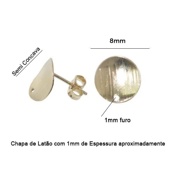 Base de Brinco Redonda 8mm Folheado - 02Pares - FO151  - ArtStones