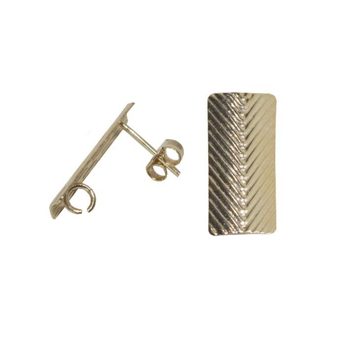 Base de Brinco Retangular 18x8mm Folheado a Ouro - Par - BA_75FO  - ArtStones