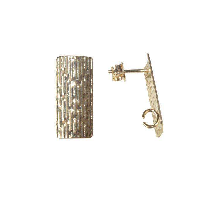 Base de Brinco Retangular 18x8mm Folheado a Ouro - Par - BA_80FO  - ArtStones