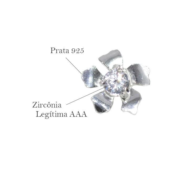 Base de Brinco Flor em Prata 925 com Zircônia - Par - PR051  - ArtStones