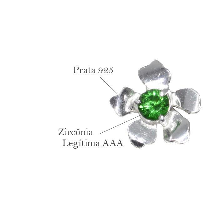 Base de Brinco Flor em Prata 925 com Zircônia Turmalina - Par - PR050  - ArtStones