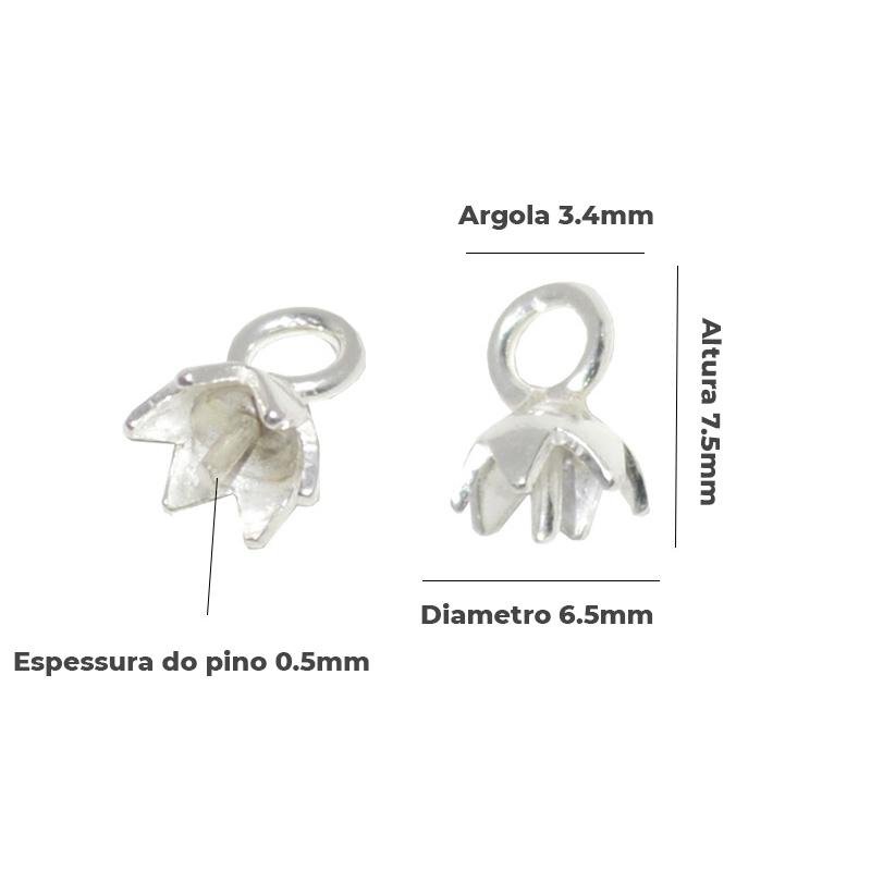 Base de Pingente em Prata 925 Tulipa 7.5x6.5mm -  2 Peças - PR081  - ArtStones