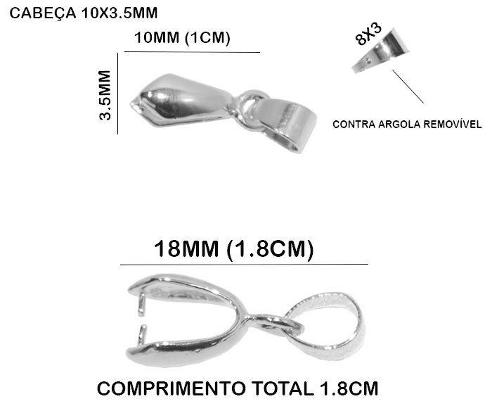 Base de Pingente Folheada a Prata - Jacaré 18x3.5mm - 10 Peças - BFP_104  - ArtStones