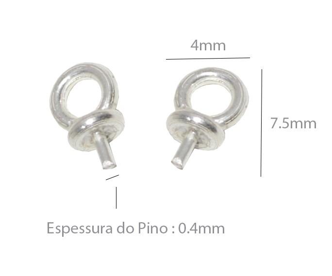 Base de Pingente em Prata 925 com Pino e Argola 7.5x4mm - 1 Peça - BP_09  - ArtStones