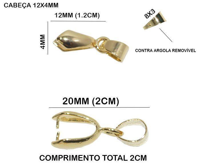Base para Pingente Jacaré M 20x4mm Folheado - 05 Peças - FO041  - ArtStones