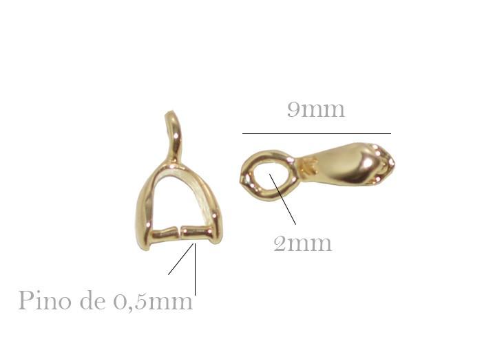 Base para Pingente Jacaré 9x3mm Folheado - PACOTE - FO200  - ArtStones