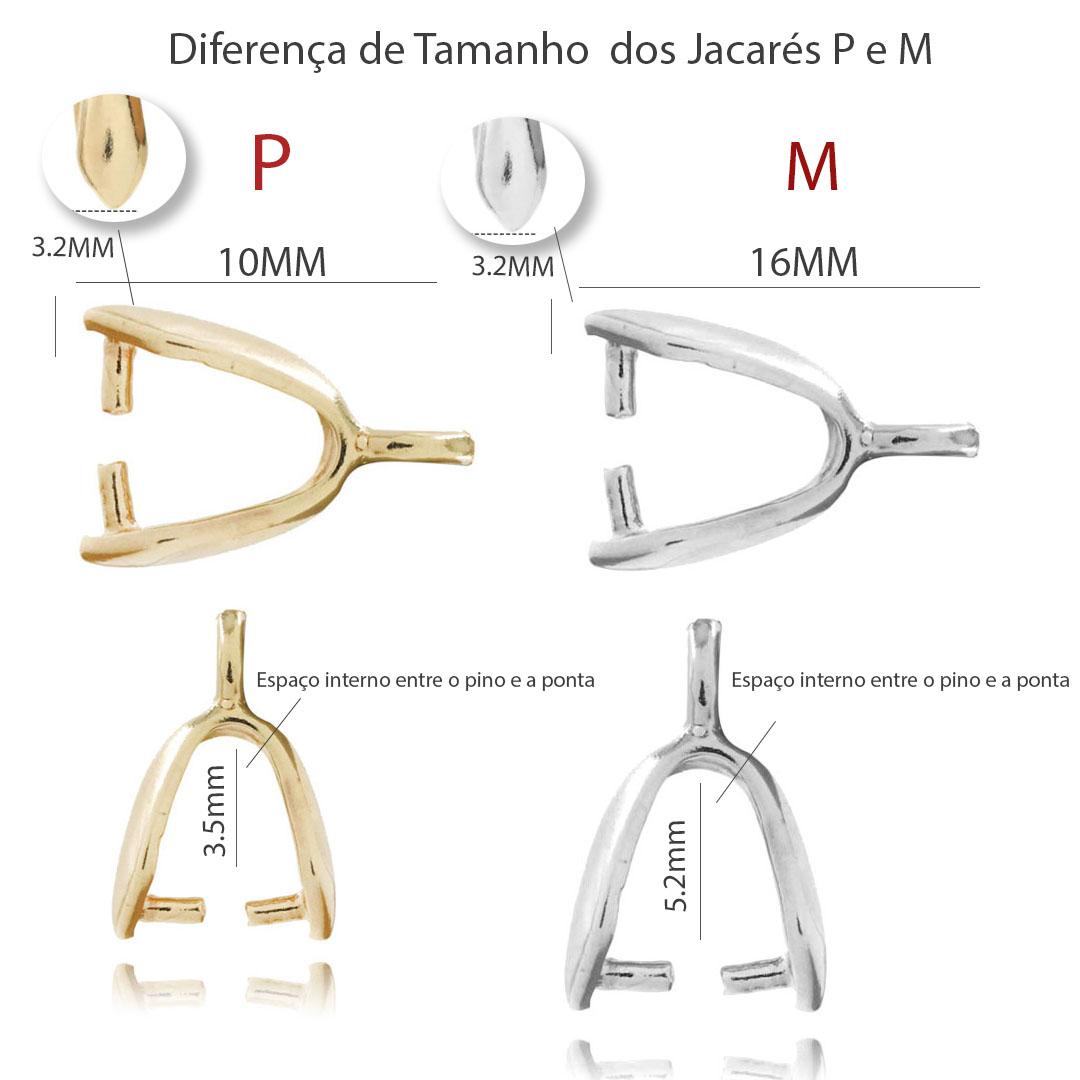 Base para Pingente Jacaré M 16x3.2mm Folheado - 05 Peças - FO041  - ArtStones