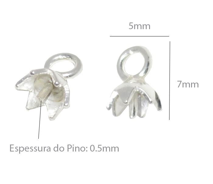 Base de Pingente em Prata 925 Tulipa 5mm -  2 Peças - BP_10  - ArtStones