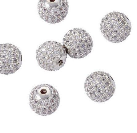 Berloque Esfera 8mm com Zircônias Folheada Prata - 1 Peça - BL_250  - ArtStones