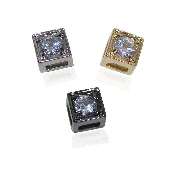 Berloque Quadrado com Zircônia - 02 Peças - AM135  - ArtStones