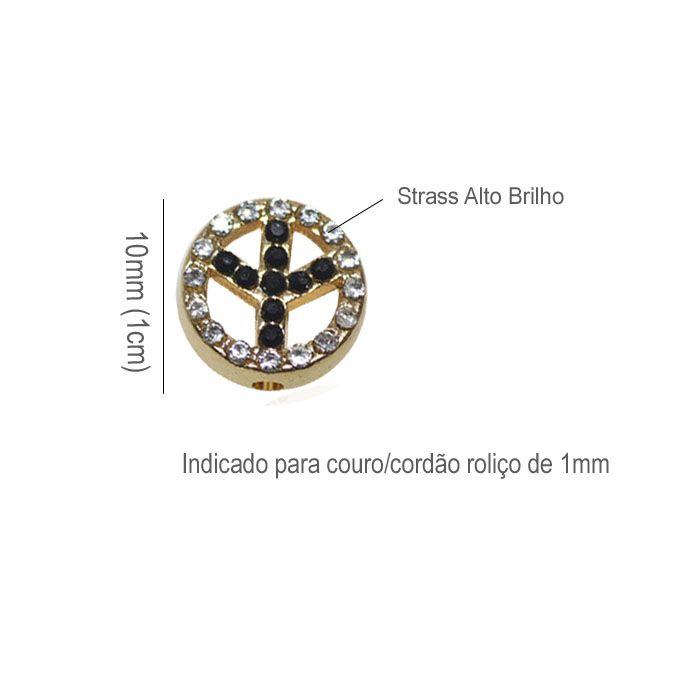 Berloque Símbolo da Paz 10mm Strass - 02 peças - ACM_318  - ArtStones