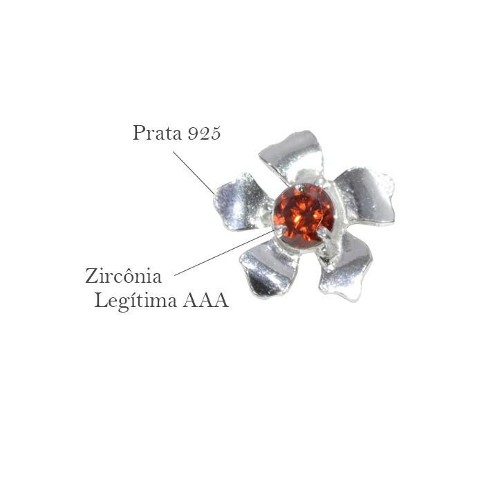 Base de Brinco Flor em Prata 925 com Zircônia Granada - Par - PR052  - ArtStones