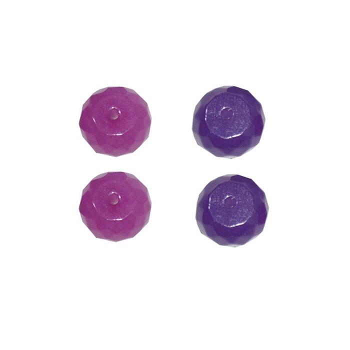 Briolet Facetado de Jade 8mm Cores Variadas - 6 Peças - PA047  - ArtStones