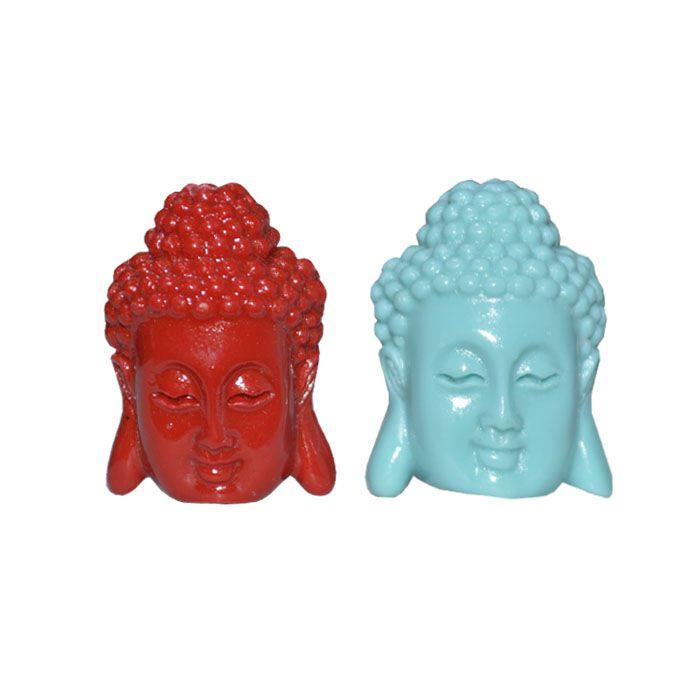 Buda de Resina Dupla Face 27x19mm Cores Variadas - 02 peças - CF_226  - ArtStones