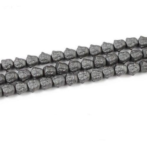Buda Sorridente de Hematita Fosca 8mm  - 06 peças - PMO_618  - ArtStones