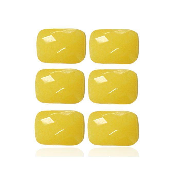 Cabochão de Jade Amarelo Retangular 10x14mm - 02 peças - PA082  - ArtStones