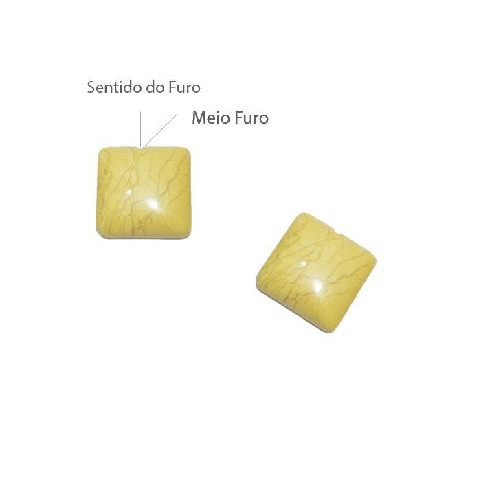 Cabochão Meio Furo de Howlita Amarela 15mm - CAB_26  - ArtStones