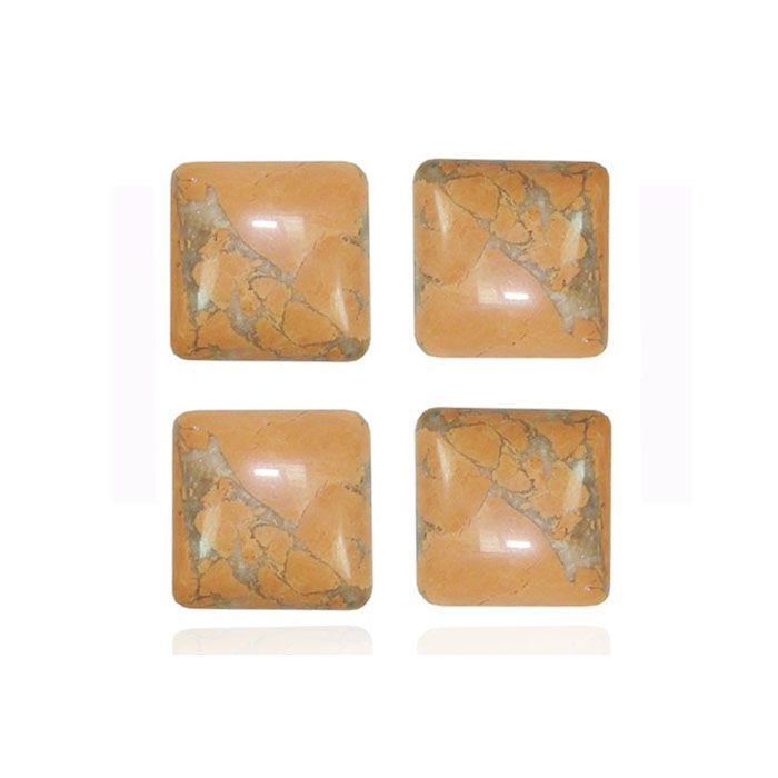 Cabochão Quadrado de Howlita Laranja 14mm - 01 peça - CAB_139  - ArtStones