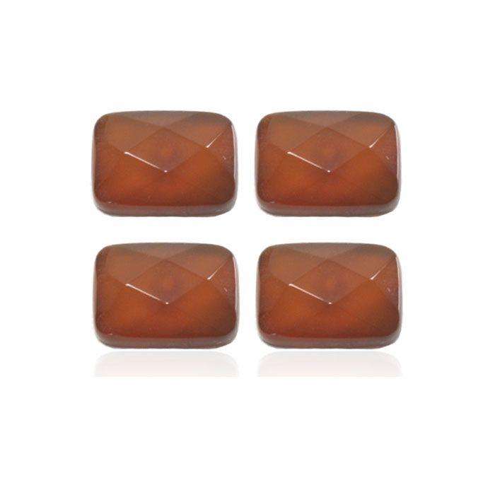Cabochão Retangular de Ágata Cornalina 10x14mm Facetado - 02 peças - PA079  - ArtStones
