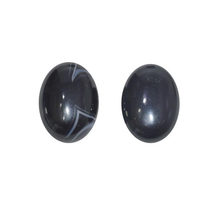 Cabochão Oval de Ágata Preta 20x15mm - CAB_97  - ArtStones