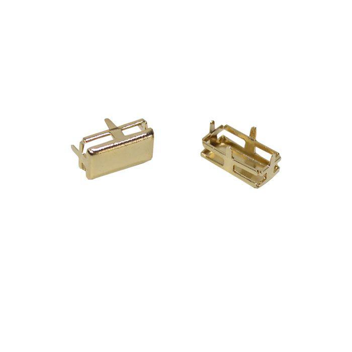 Caixa Baguete com Fundo 5x10mm - 4pcs -  F. a Ouro - CX_301  - ArtStones