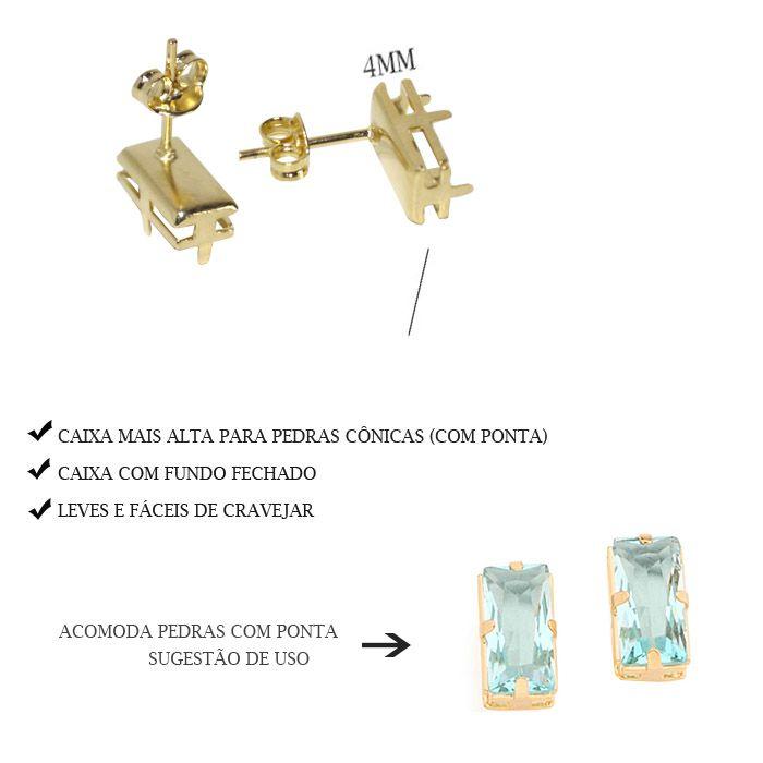 Caixa Brinco Baguete com Fundo Tam. Variados - PAR -  F. a Ouro - CX_401  - ArtStones