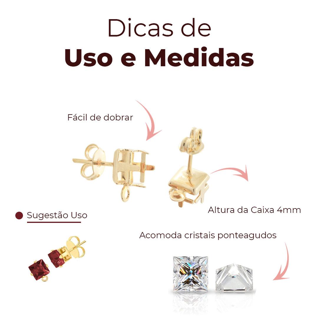 Caixa Brinco Carré com Fundo e Argola 5x5mm Folheada - 01 Par - FO475  - ArtStones