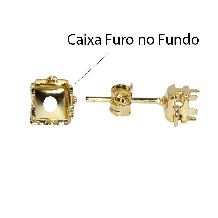 Caixa Brinco Carré com Fundo Tam. Variados - PAR-  F. a Ouro - CX_504  - ArtStones