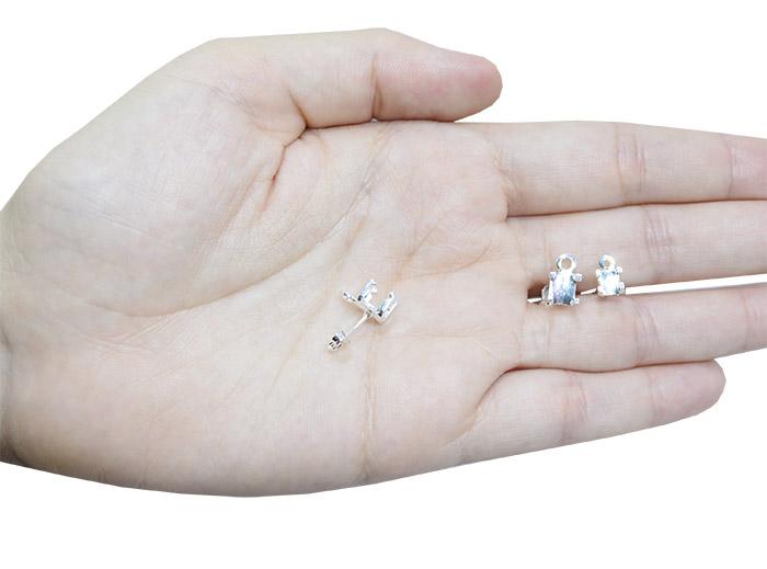 Caixa Brinco Click  para Pedra Quadrada 6mm - 01 Par - FO325  - ArtStones