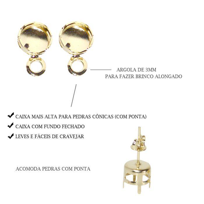 Caixa Brinco Redonda com Fundo e Argola F. a Ouro - Tam. Variados - 02 Pares - CX_126  - ArtStones