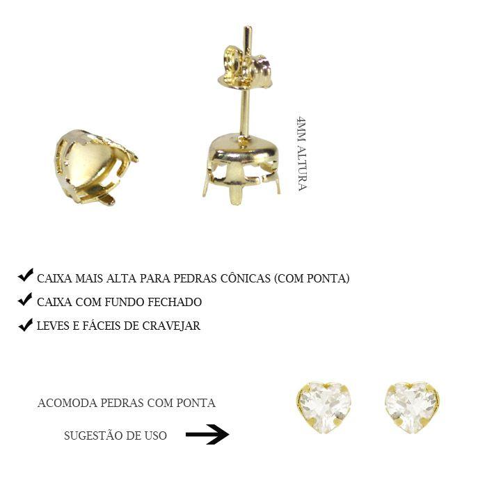 Caixa Brinco Coração com Fundo Tam. Variados - Pacote -  F. a Ouro - CX_405  - ArtStones