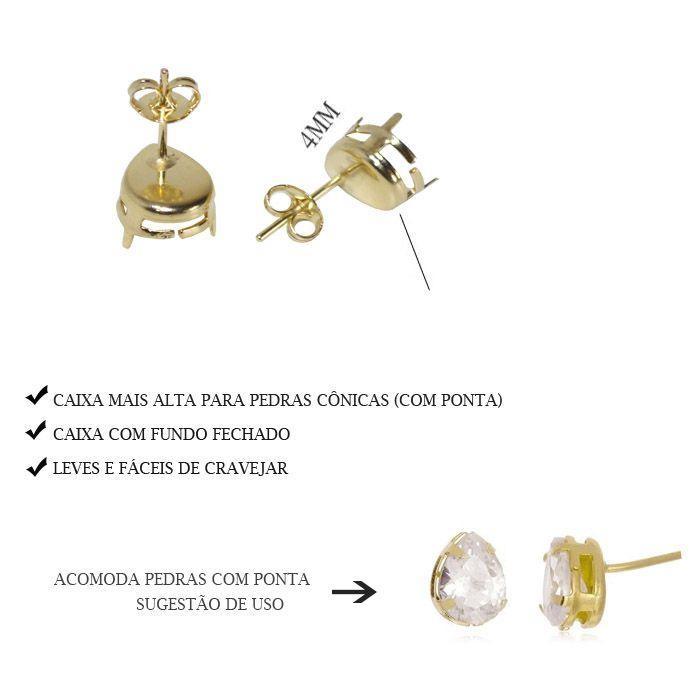 Caixa Brinco Gota com Fundo Tam. Variados - Pacote -  F. a Ouro - CX_402  - ArtStones