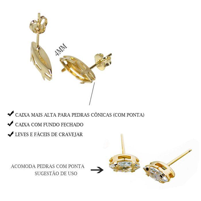 Caixa Brinco Navete com Fundo Tam. Variados - PAR -  F. a Ouro - CX_406  - ArtStones