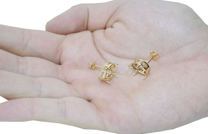 Caixa Brinco para Pedra Gota F. a Ouro - Tamanhos Variados - Par - CX_204  - ArtStones