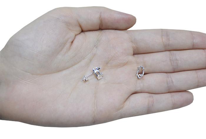 Caixa Brinco para Pedra Navete Folheada 5x10mm - 02 Pares - FO327  - ArtStones