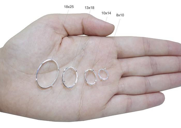 Caixa Brinco para Pedra Oval Folheada 10x14 - 01 Par - FO305  - ArtStones