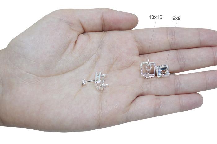 Caixa Brinco Folheada para Pedra Quadrada 10mm - 01 Par - FO322  - ArtStones
