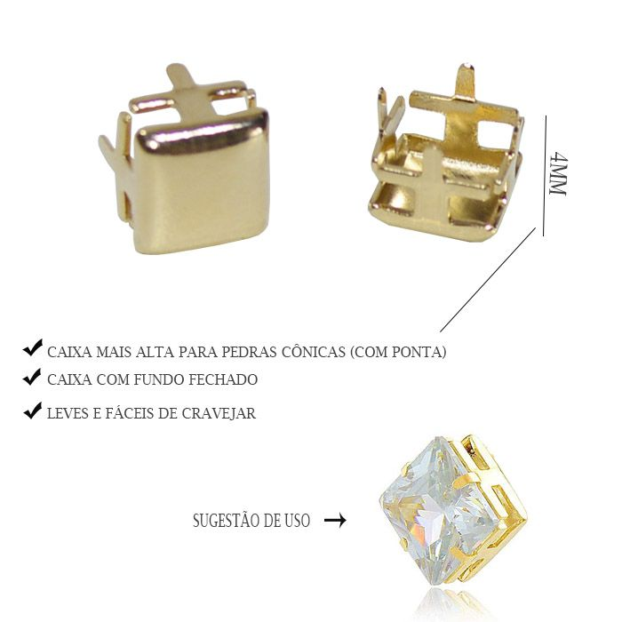 Caixa Carré com Fundo Tamanhos Variados - 4pcs -  F. a Ouro - CX_304  - ArtStones